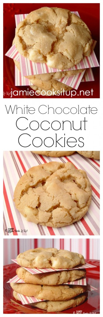 White Chocolate Coconut Cookies I Jamie Cooks It Up!