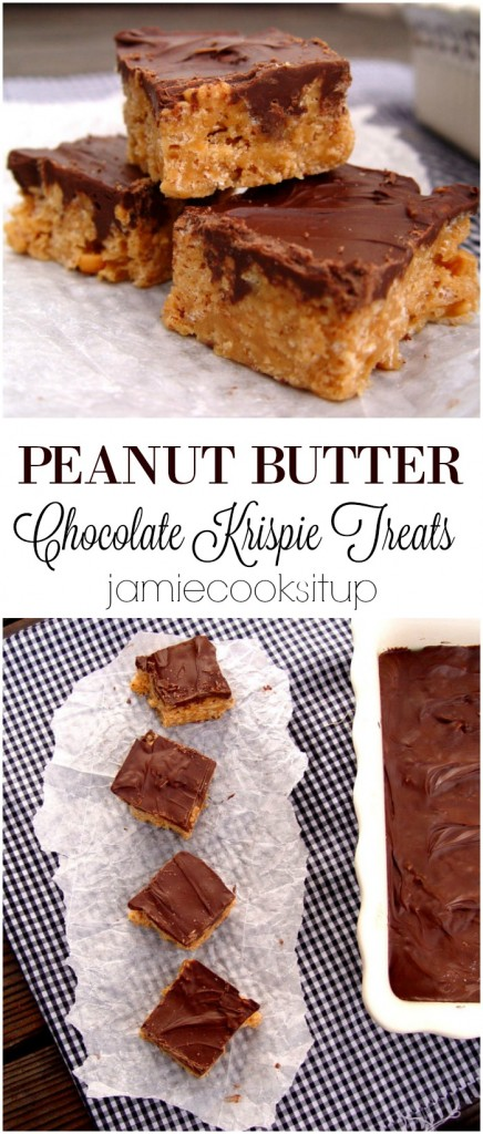 Peanut Butter Chocolate Krispie Treats from Jamie Cooks It Up!