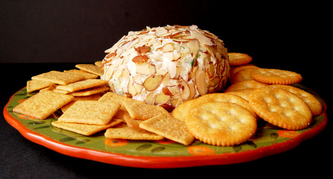 Cheese Ball with Pineapple and Green Pepper