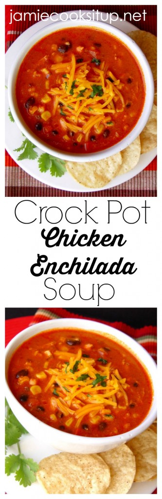 Crock Pot Chicken Enchilada Soup from Jamie Cooks It Up!