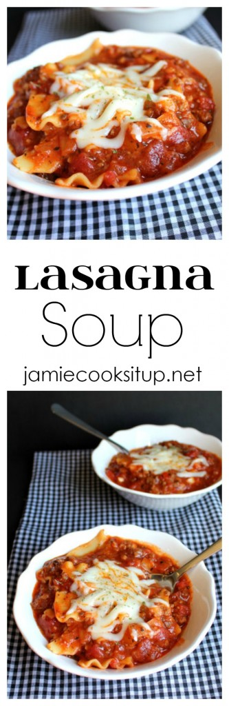 Lasagna Soup from Jamie Cooks It Up!