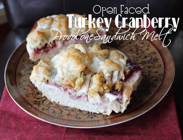 Open Faced Turkey Cranberry Provolone Sandwich Melt