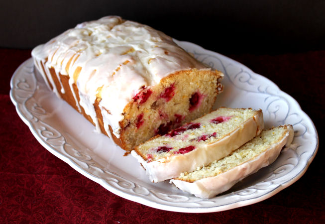Cranberry Almond Bread with Orange Glaze