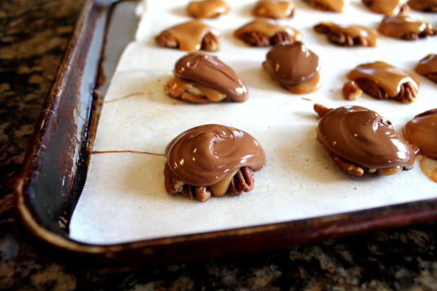 Chocolate Caramel and Pecan Turtle Clusters