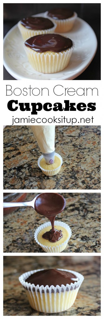 Boston Cream Cupcakes from Jamie Cooks It Up!