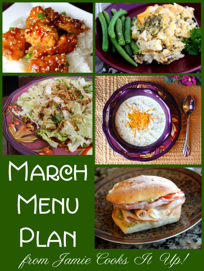 March Menu Plan 2013