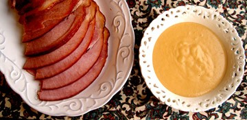 Orange Glazed Ham with Mustard Sauce
