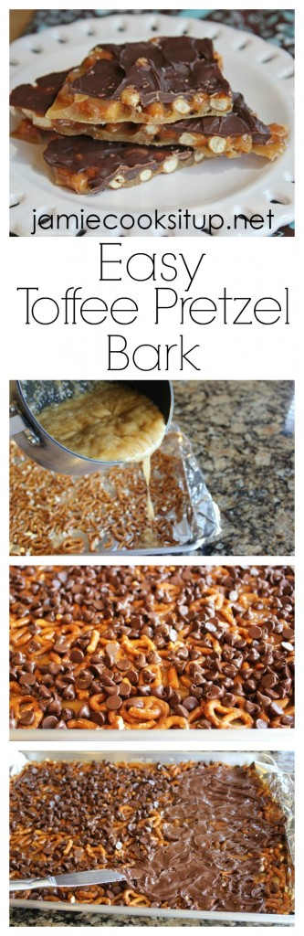 Easy Toffee Pretzel Bark from Jamie Cooks It Up!