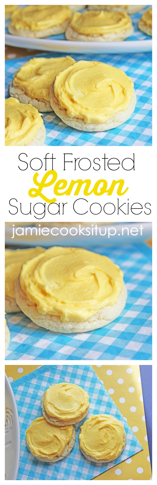 Soft Frosted Lemon Sugar Cookies from Jamie Cooks It Up!