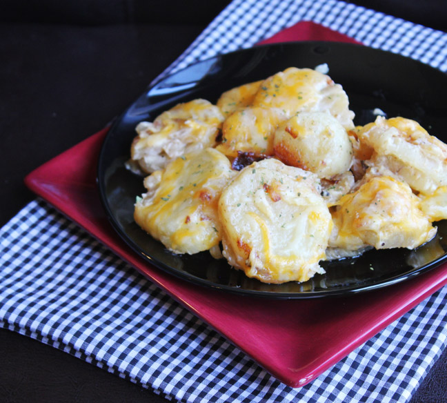 Dutch Oven Cheesey Potatoes from Jamie Cooks It Up!