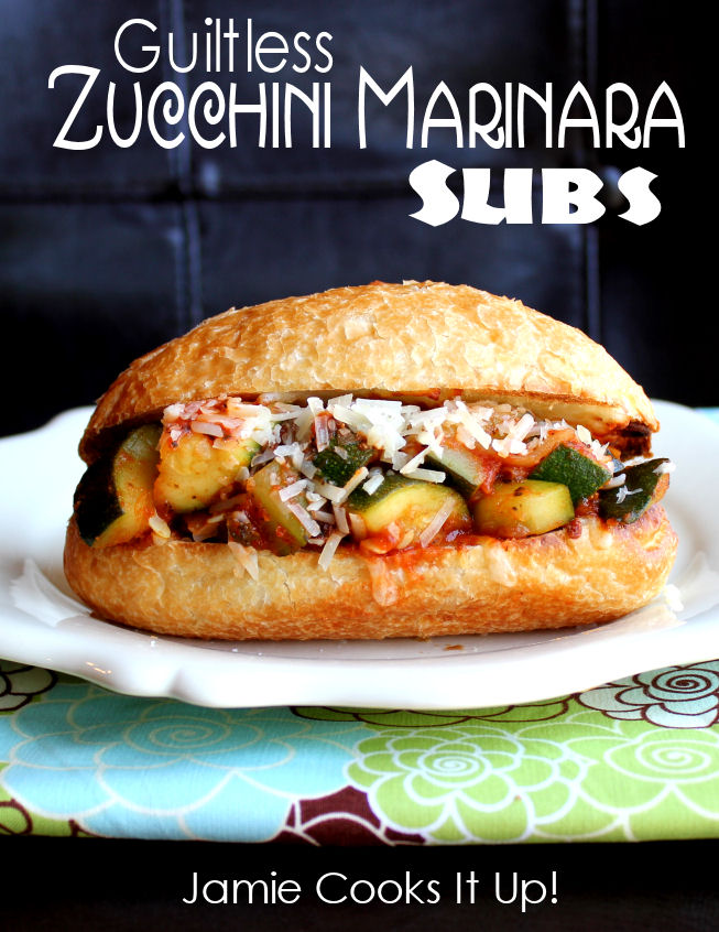 Guiltless Zucchini Marinara Subs from Jamie Cooks It Up!