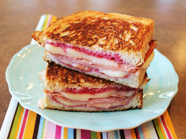 Hot Ham and Cheese with Raspberry Jam