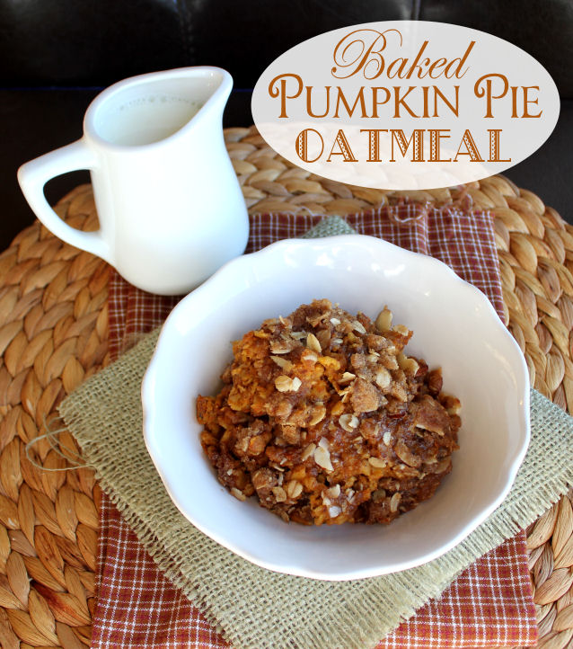 Baked Pumpkin Pie Oatmeal from Jamie Cooks It Up!