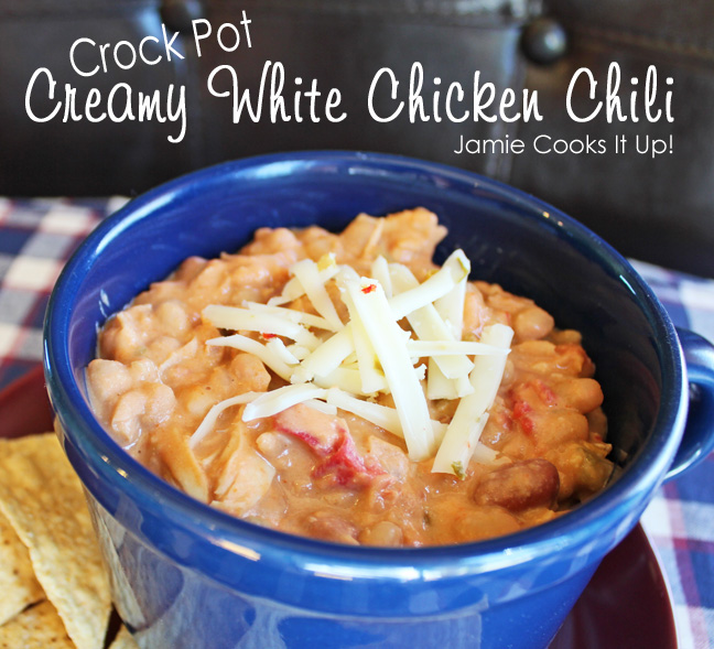 Creamy White Chicken Chili (Crock Pot) from Jamie Cooks It Up!