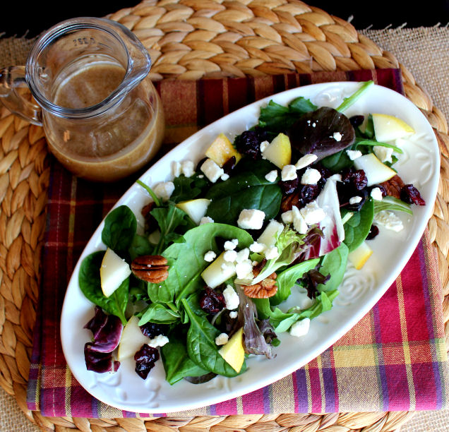 Balsamic Maple Dressing with Pear and Pecan Salad from Jamie Cooks It Up!