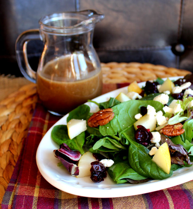 Balsamic Maple Dressing with Pear and Pecan Salad