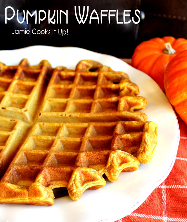 Pumpkin Waffles from Jamie Cooks It Up!