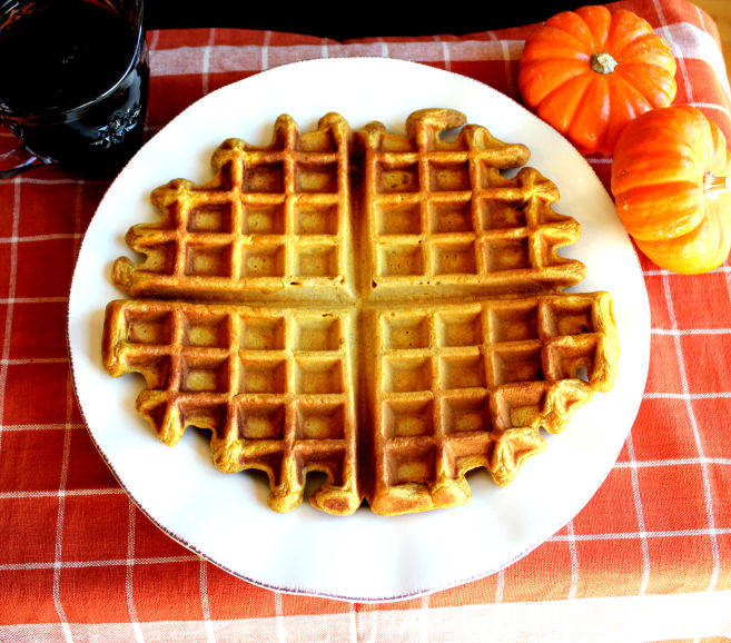 Pumpkin Waffles from Jamie Cooks It Up