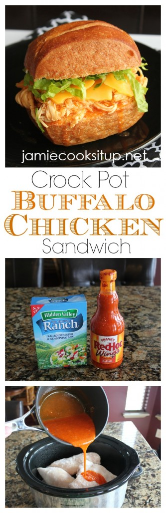 Crock Pot Buffalo Chicken Sandwich from Jamie Cooks It Up!