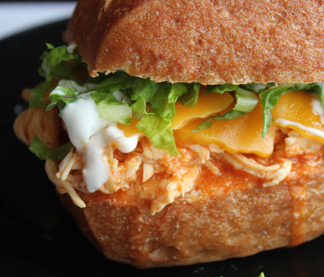 Shredded Buffalo Chicken Sandwich (Crock Pot) from Jamie Cooks It Up!