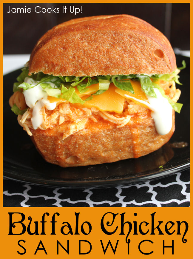 Shredded Buffalo Chicken Sandwich from Jamie Cooks It Up