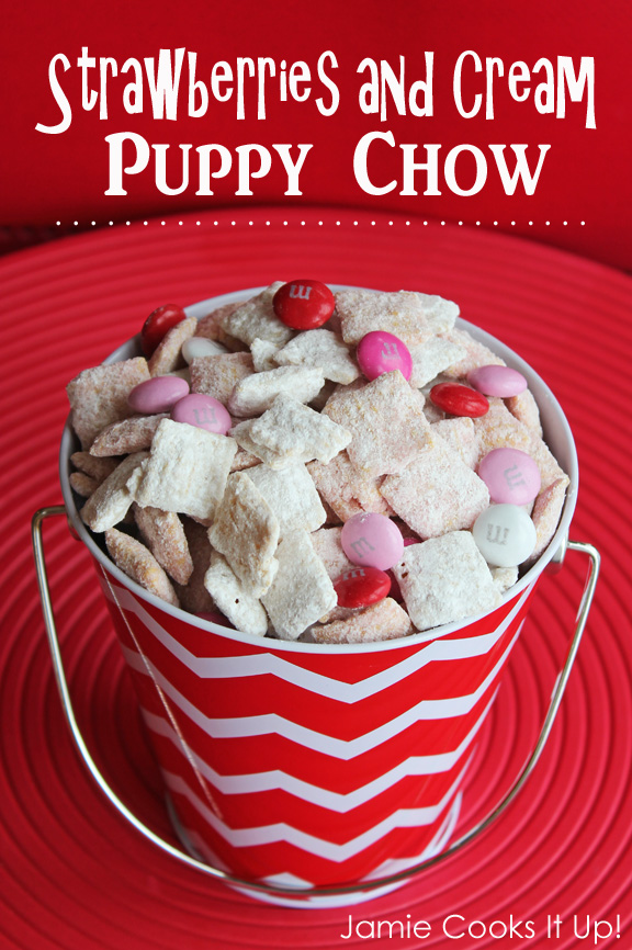 Strawberries and Cream Puppy Chow from Jamie Cooks It Up!