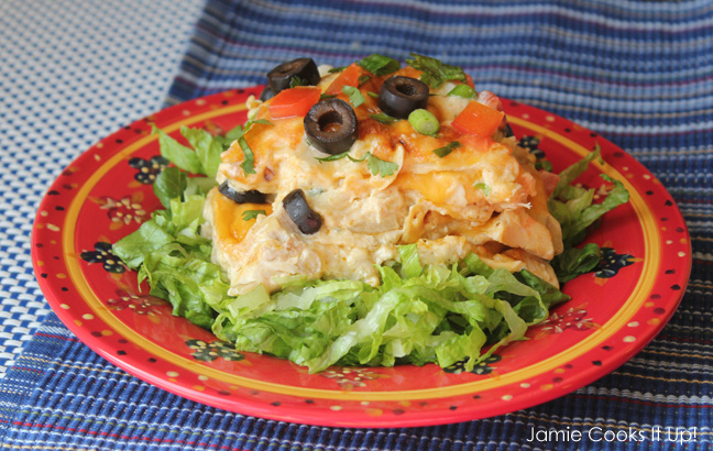 30 Minute Skillet Chicken Enchiladas from Jamie Cooks It Up!