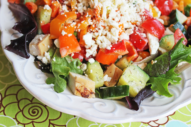 Greek Salad with Chopped Chicken from Jamie Cooks It Up!!