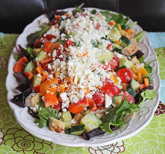 Greek Salad with Chopped Chicken from Jamie Cooks It Up!