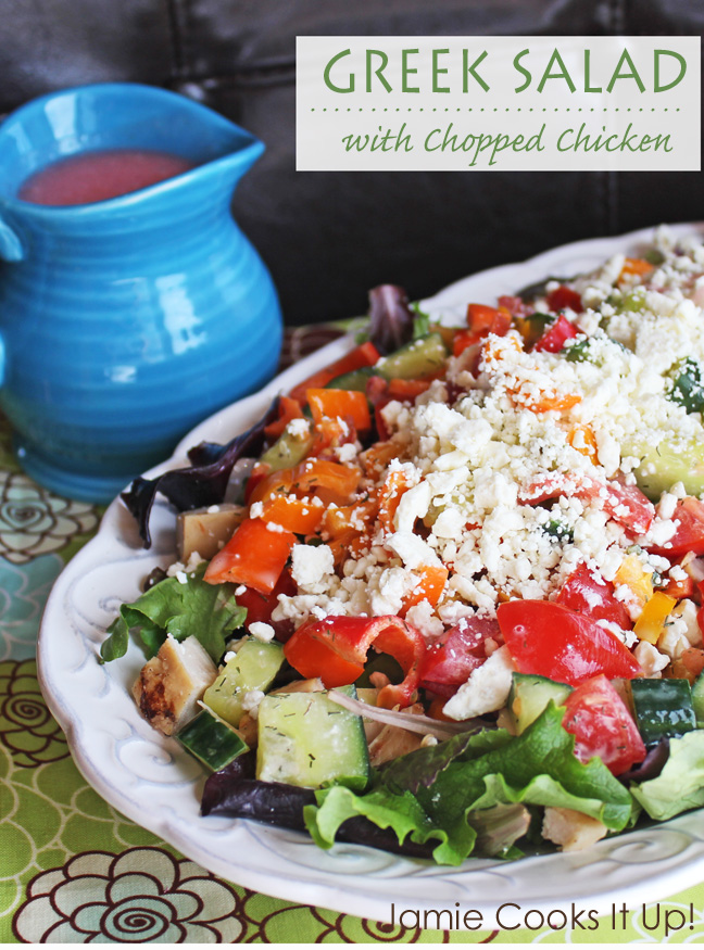 Greek Salad with Chopped Chicken from Jamie Cooks It Up