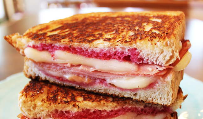 Hot Ham and Cheese with Raspberry Jam from Jamie Cooks It Up!