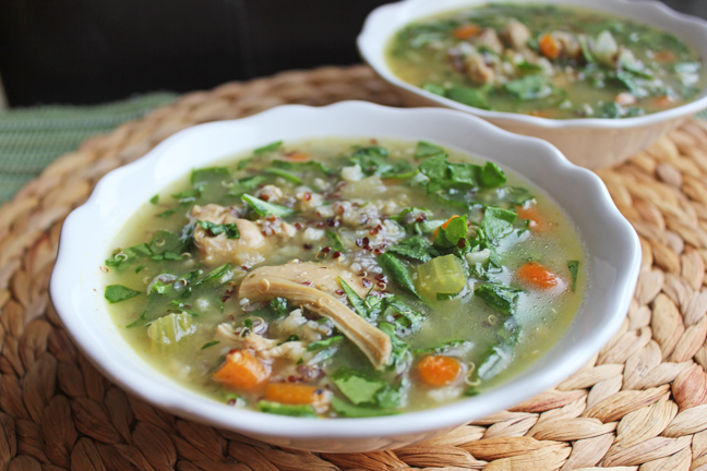 Chicken Quinoa and Brown Rice Soup from Jamie Cooks It Up!