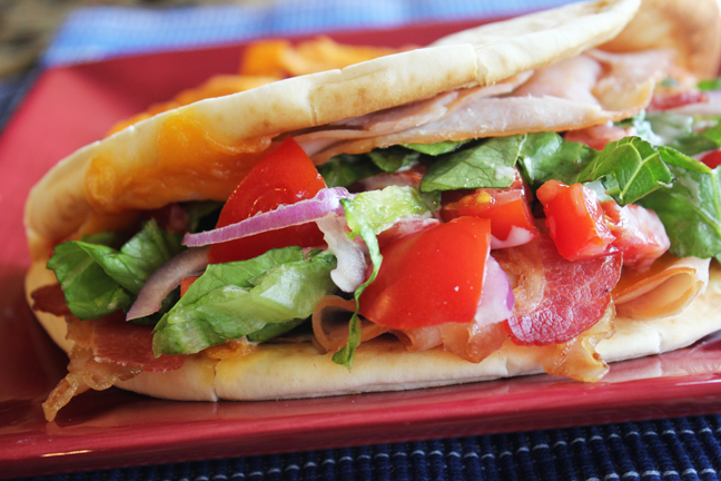 Turkey Bacon and Ranch Toasted Pita Sandwich from Jamie Cooks It Up!!