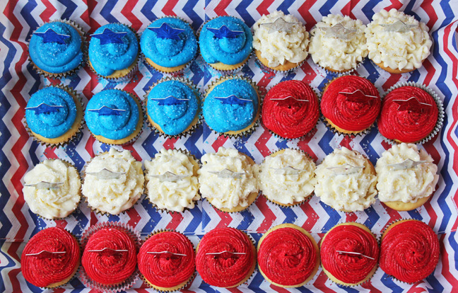 Red White and Blue Cupcakes in a Flag Shape