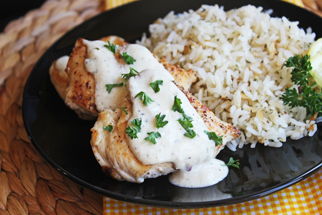 Skillet Honey Dijon Chicken from Jamie Cooks It Up!