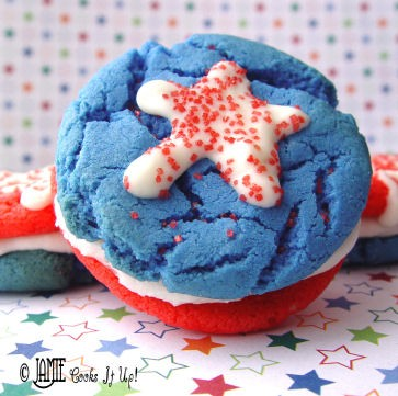 Red, White and Blue Sandwich Cookies