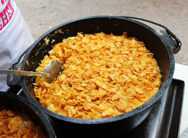 Dutch Oven Cheesy Funeral Potatoes