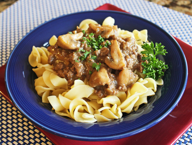 Lightened Up Beef Strogonaff from Jamie Cooks It Up