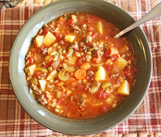 Hearty Sausage and Barley Soup from Jamie Cooks It Up!