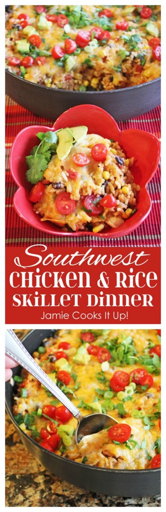 Southwest Chicken and Rice Skillet Dinner Jamie Cooks It Up!