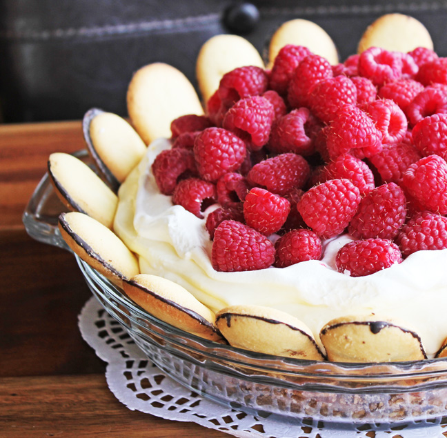 White Chocolate Silk Pie with Raspberries and Milano Cookie Crust from Jamie Cooks It Up!