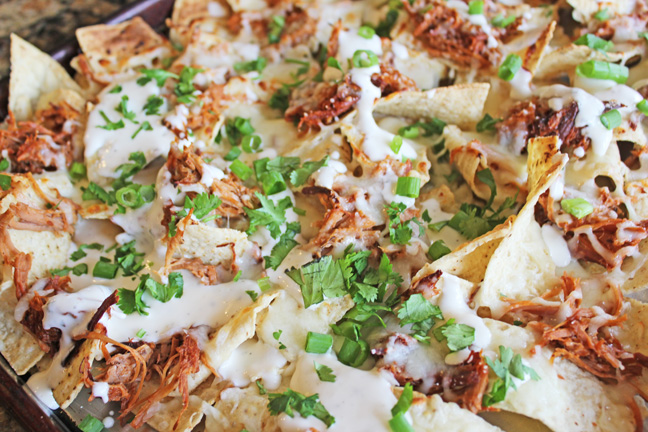 BBQ Ranch Pulled Pork Nachos from Jamie Cooks It Up!