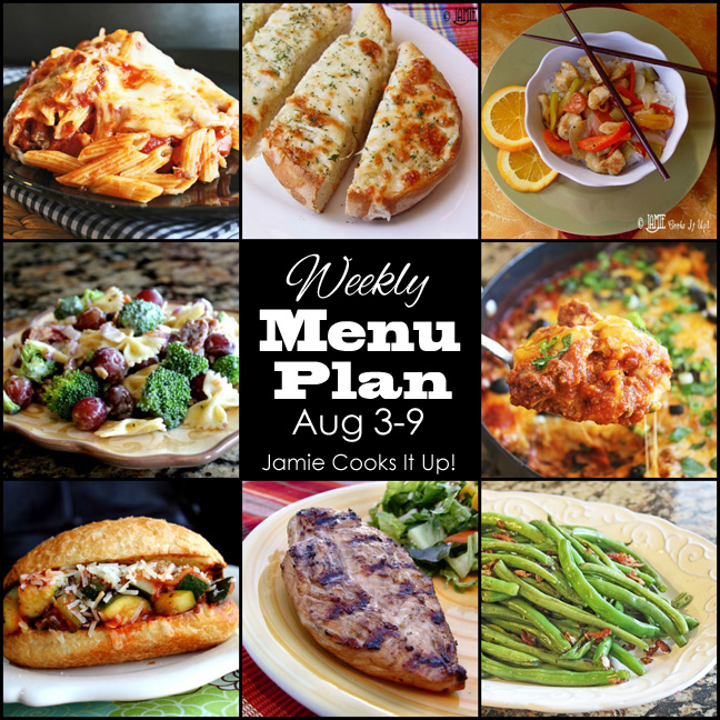 Weekly Menu Plan August Week 1