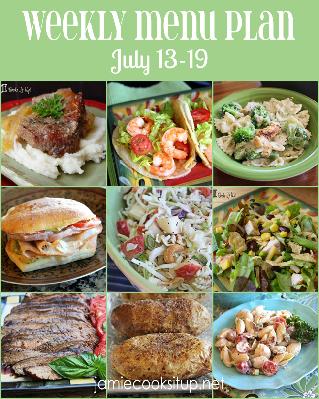 Weekly Menu Plan July Week #