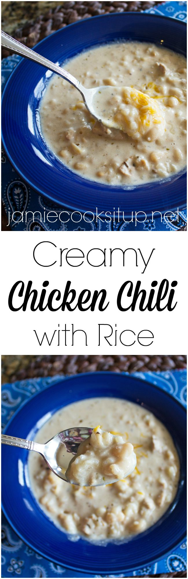 Creamy Chicken Chili with Rice from Jamie Cooks It Up!