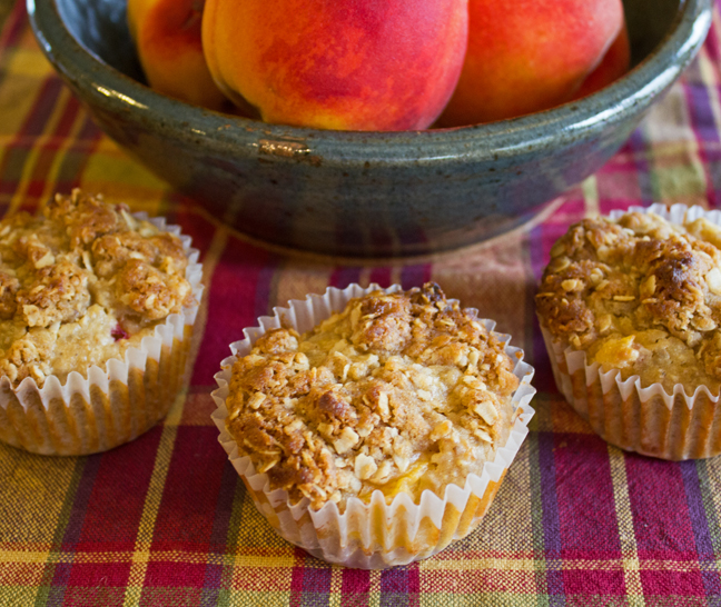 Peach and Oatmeal Muffins from Jamie Cooks It Up!