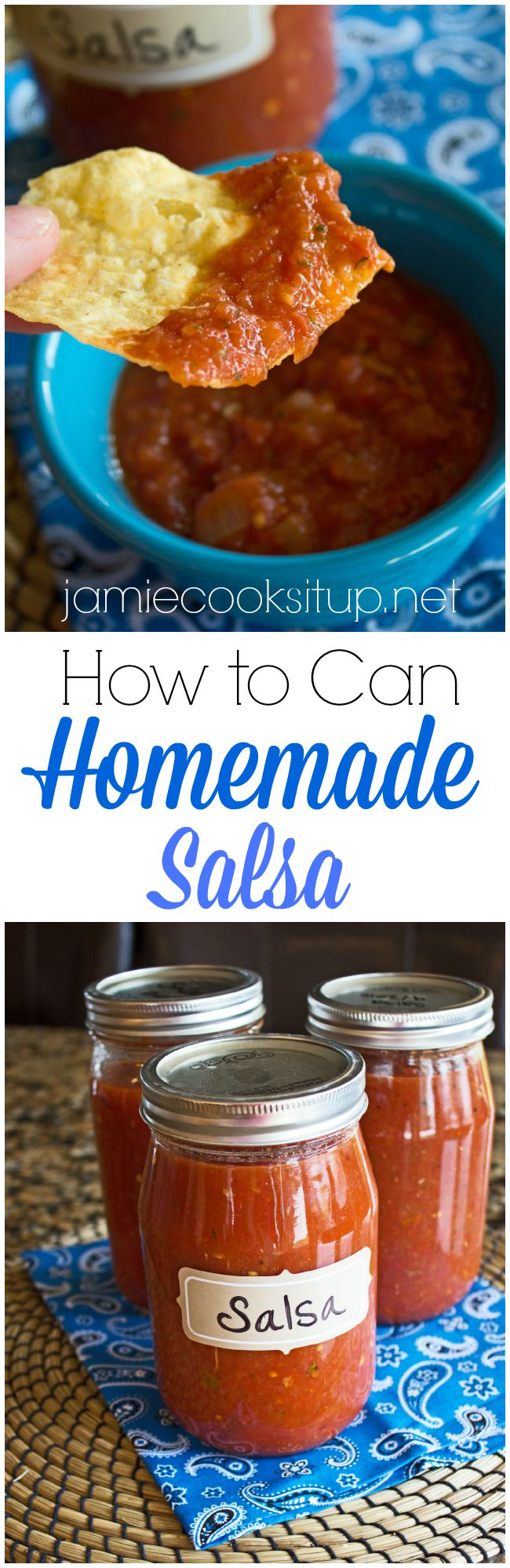 How To Can Homemade Salsa from Jamie Cooks It Up!