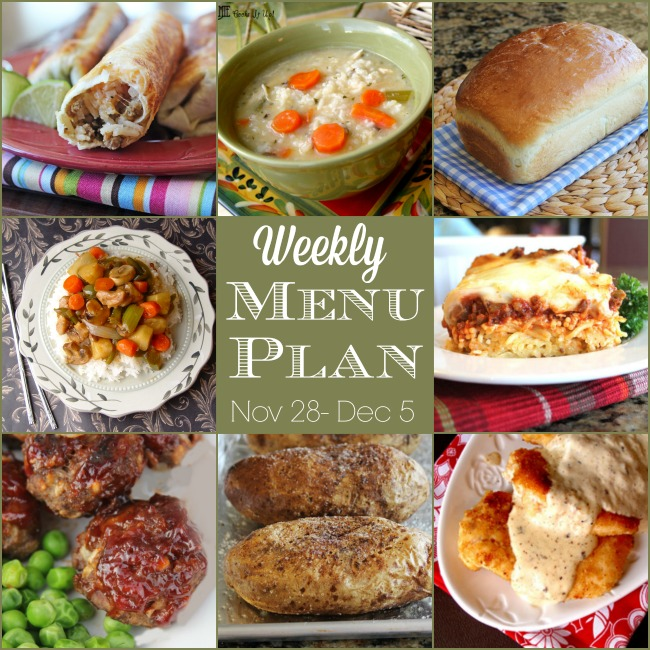 Weekly Menu Plan: Nove 28 – Dec 5
