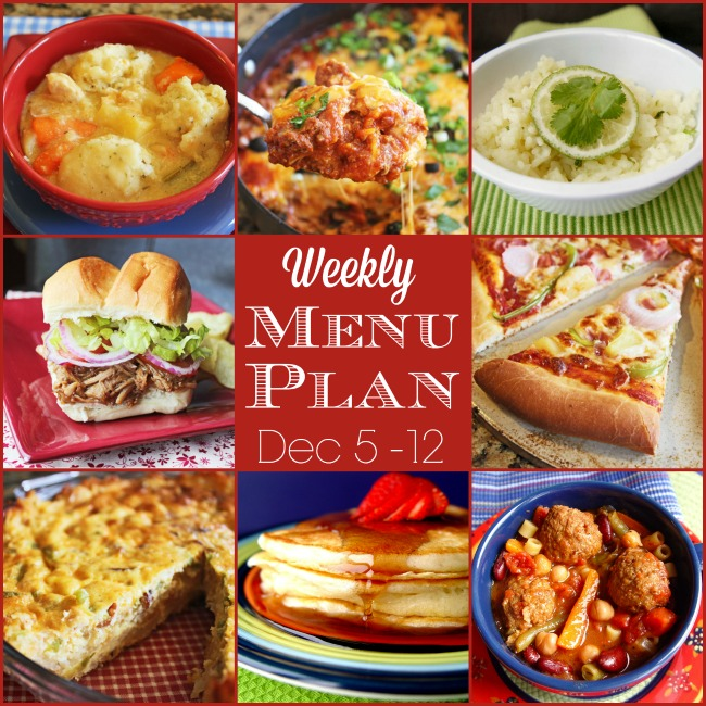 Weekly Menu Plan: Dec 5-12