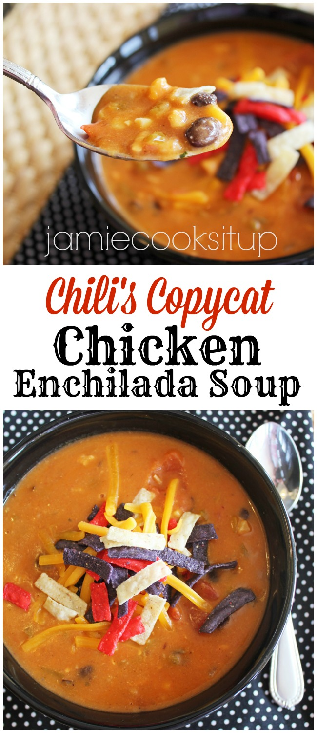 Chili's Copycat Chicken Enchilada Soup from Jamie Cooks It Up!